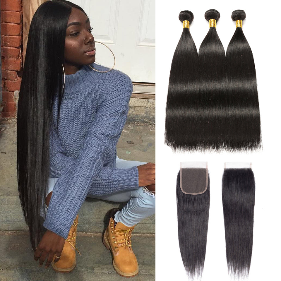 Peruvian Straight Hair 3 Bundles with 4*4/5*5 Lace Closure