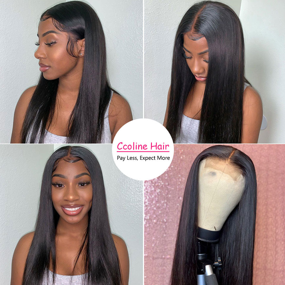 Sliky Straight 360 Lace Frontal Hair Wig Natural Color Pre-Plucked With Baby Hair