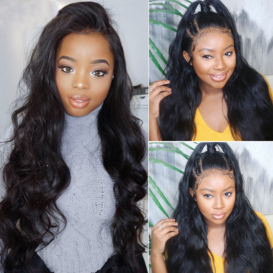 peruvian virgin body wave  3 bundles with 13*4/13*6 Lace Frontal Closure