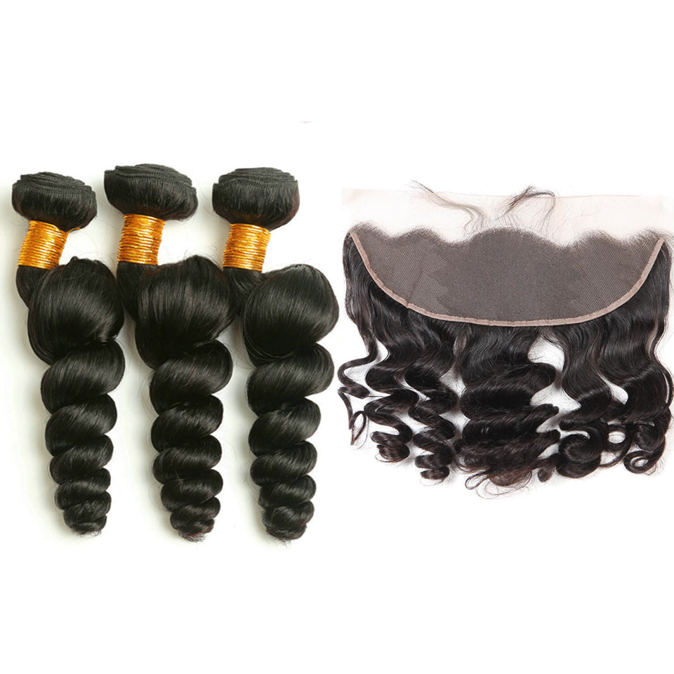 peruvian loose wave  3 bundles with 13*4/13*6 Lace Frontal Closure