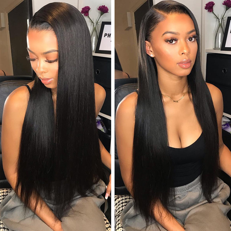 Virgin brazilian Straight Hair 3 Bundles with 13*4/13*6 Lace Frontal Closure