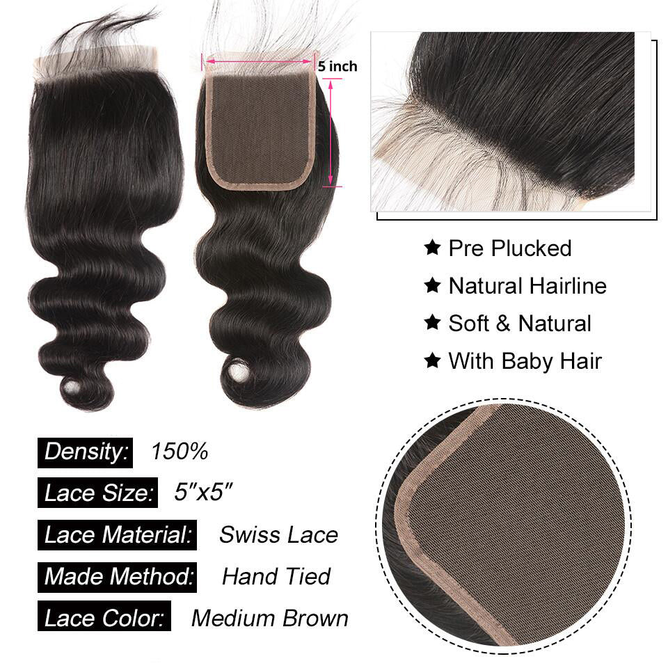 Body Wave Human Hair 4x4/5*5/6*6 Lace Closure 1pc,free part