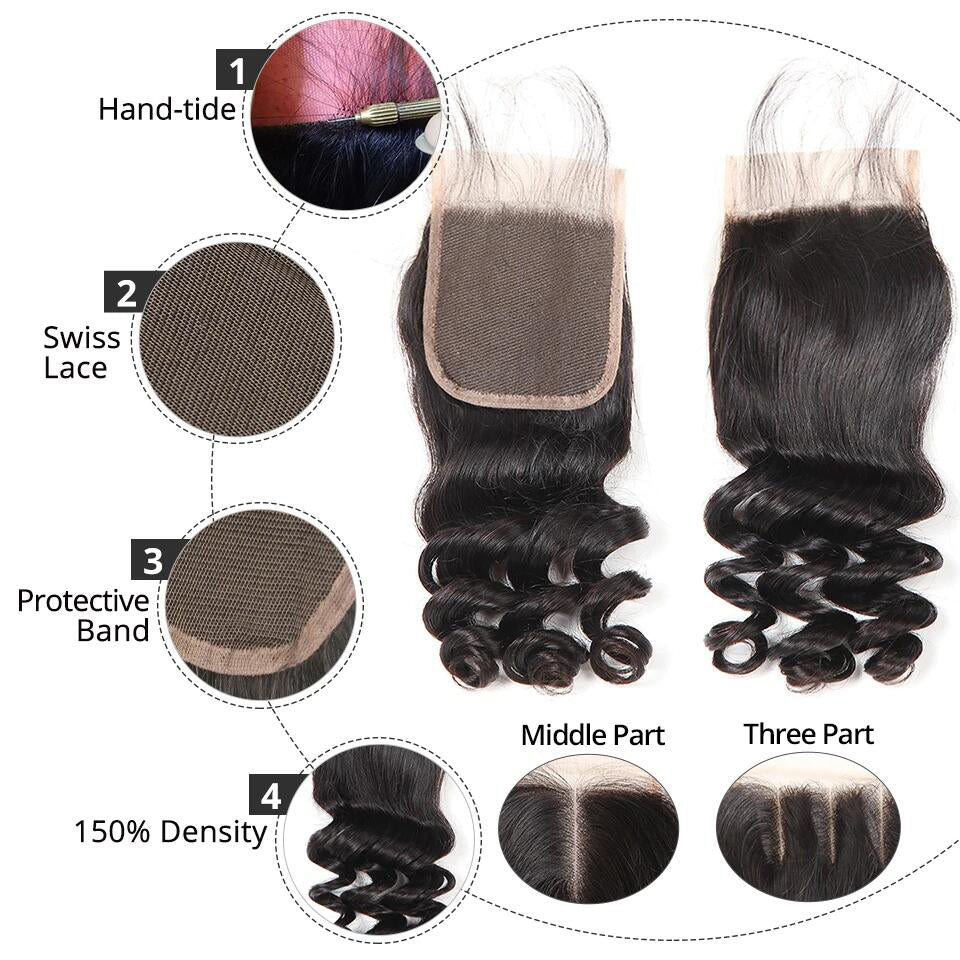 Loose Wave  Human Hair 4x4/5*5/6*6 Lace Closure 1pc,free part