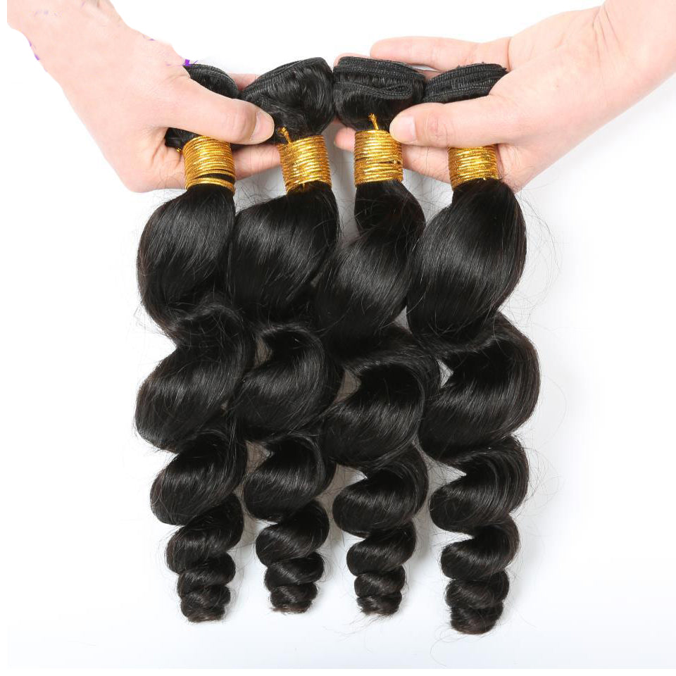 virgin peruvian loose wave 4 bundles lot human hair weaves, natural black color, 8-30inch