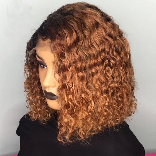 Water Wave Frontal Lace Human Hair Wig, Curly Bob Human Hair Wig, 180% Density