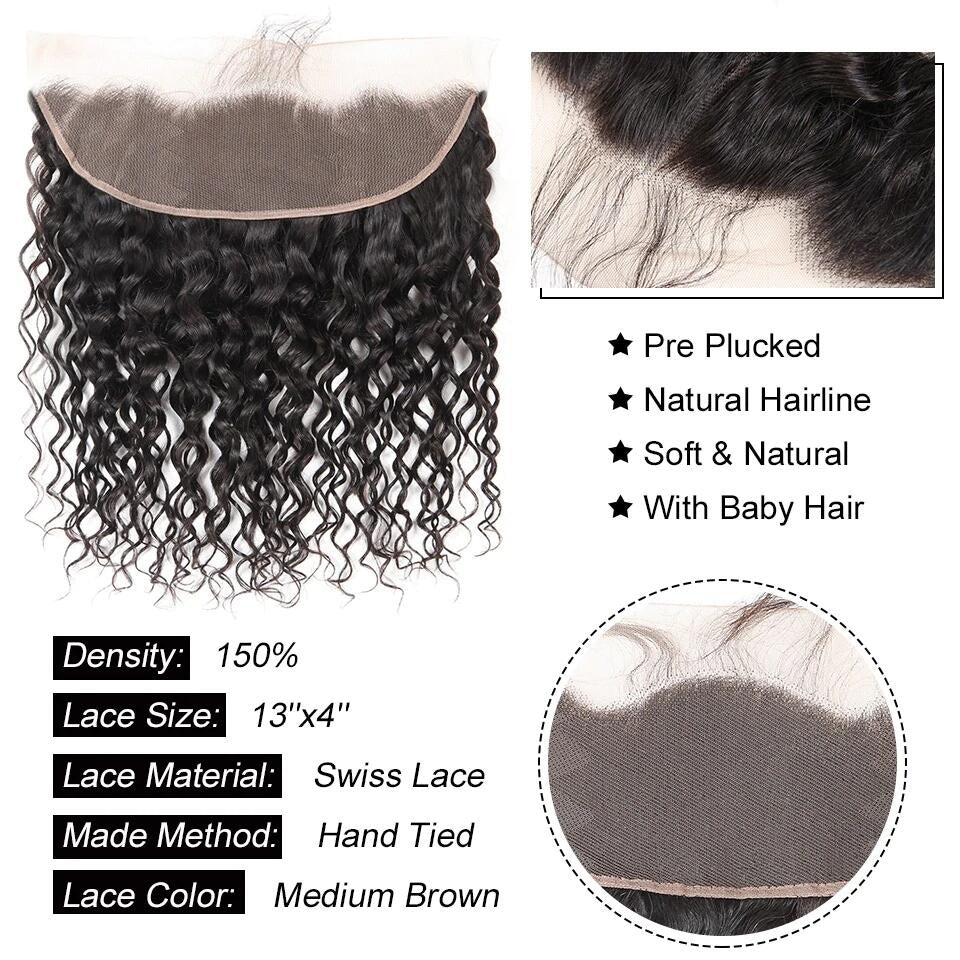 13*4 Water wave lace frontal human hair closure, ear to ear frontal closure