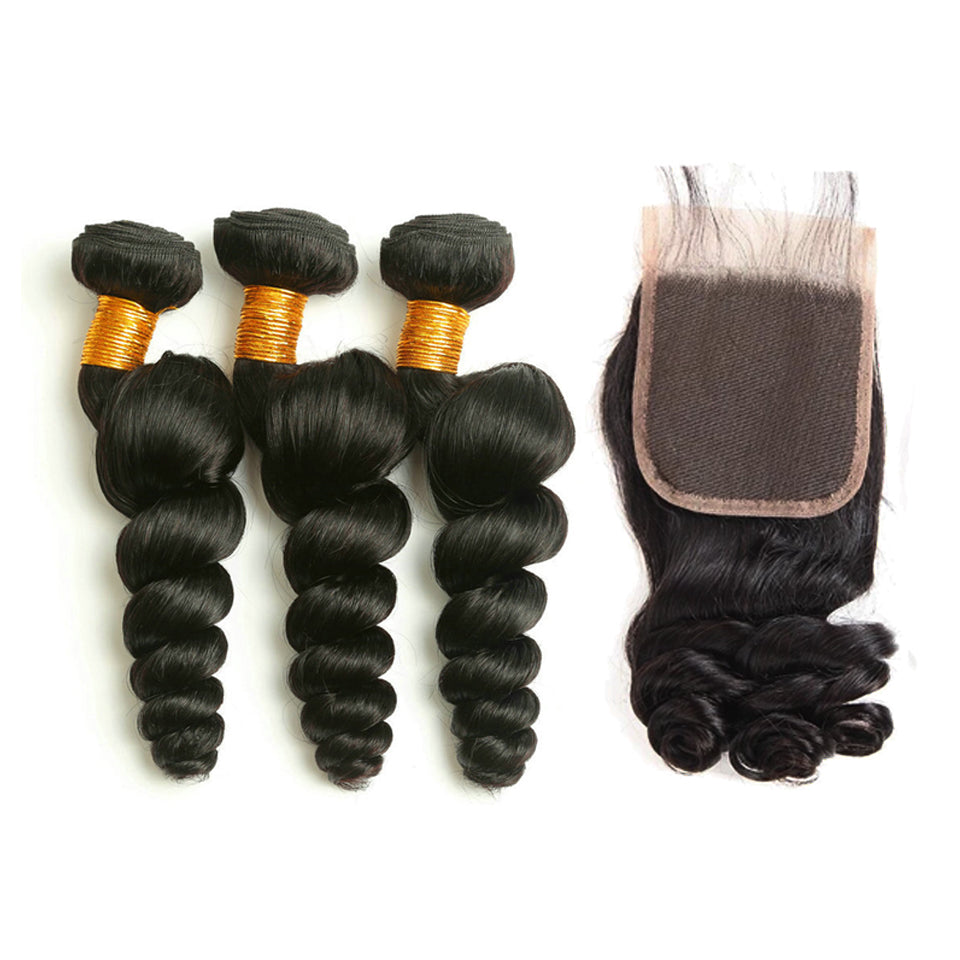virgin malaysian Loose Wave 3 Bundles with 4*4/5*5 Lace Closure, Free Part