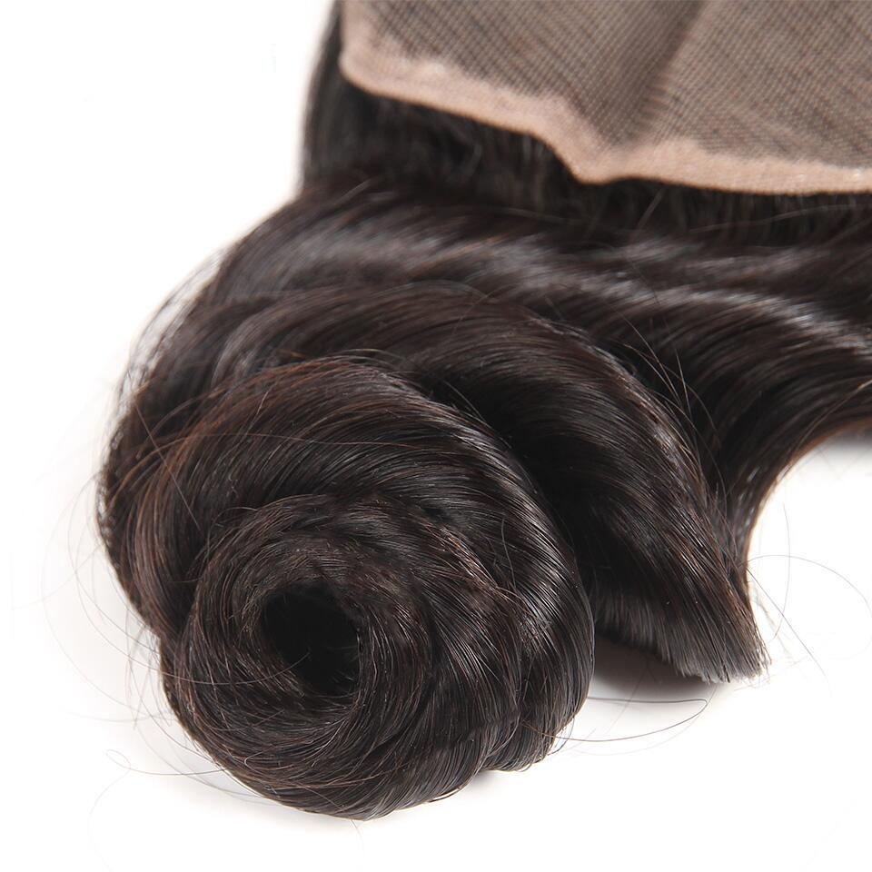 Virgin Peruvian Loose Wave 3 Bundles with 4*4/5*5 Lace Closure, Free Part