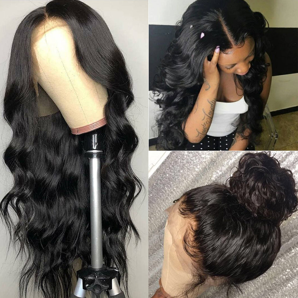 Body Wave 360 Lace Frontal Wig Natural Color Pre-Plucked With Baby Hair