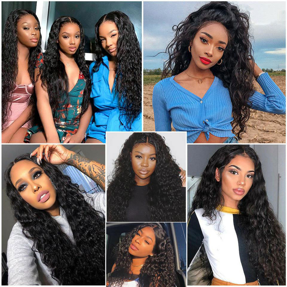 "13*6 Water Wave Lace Frontal Human Hair Wig, 150%/180%/250% Density, 6"" Deep Parting Lace Front Wig"