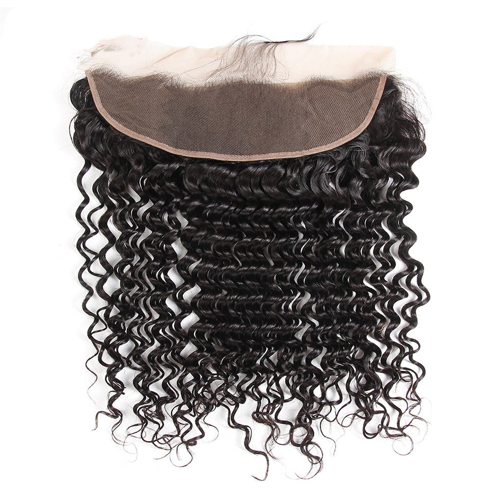 Brazilian Deep Wave 3 bundles with 13*4/13*6 Lace Frontal Closure