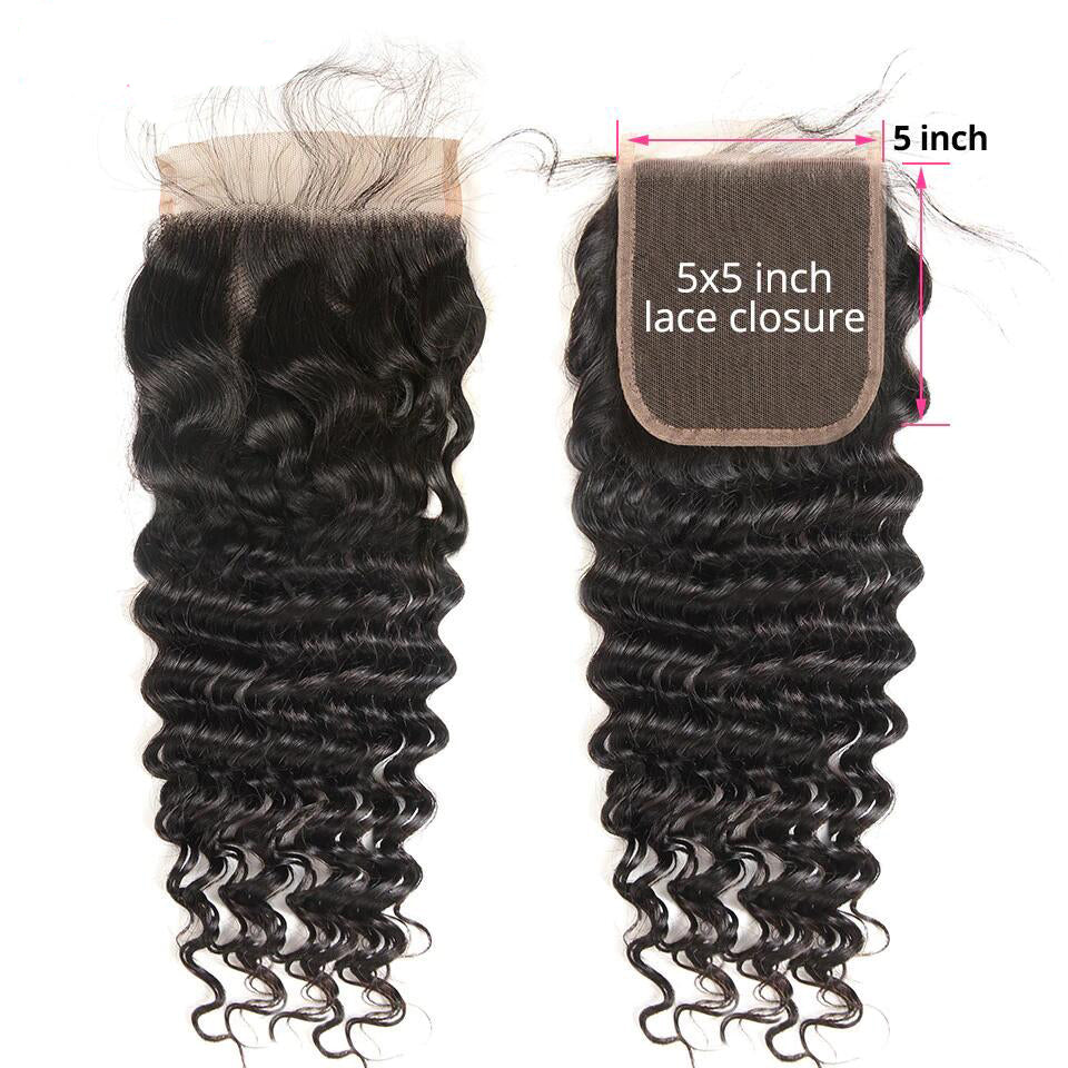 Deep Wave Human Hair 4x4/5*5/6*6 Lace Closure 1pc,free part