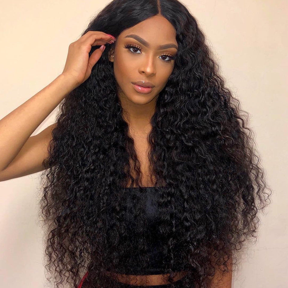 Peruvian Deep Wave 3 bundles with 13*4/13*6 Lace Frontal Closure