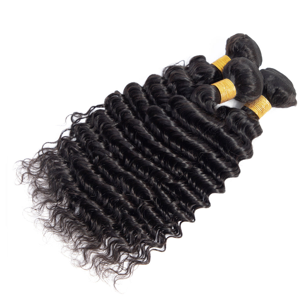 3pcs lot virgin brazilian deep wave human hair weaves, 80-30inch natural black color