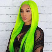 Slime Green Color Straight Lace Human Hair Wig, Frontal human hair wigs, Full Lace Wig