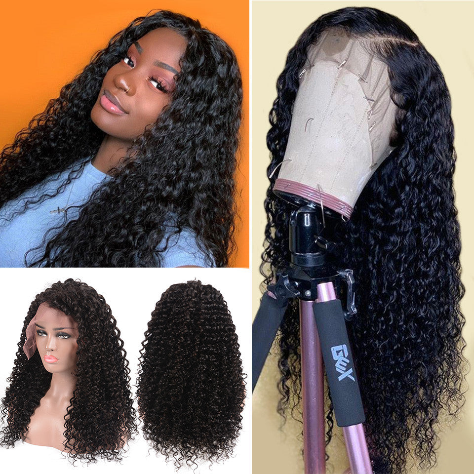 Water Wave 13*4 Lace Front Human Hair Wig,150%/180% Density 10inch-24inch,Natural Black Color