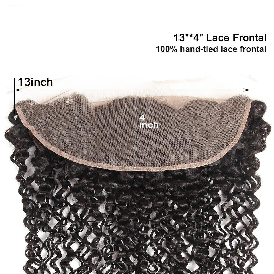 13*4 deep wave lace frontal human hair closure, ear to ear frontal closure