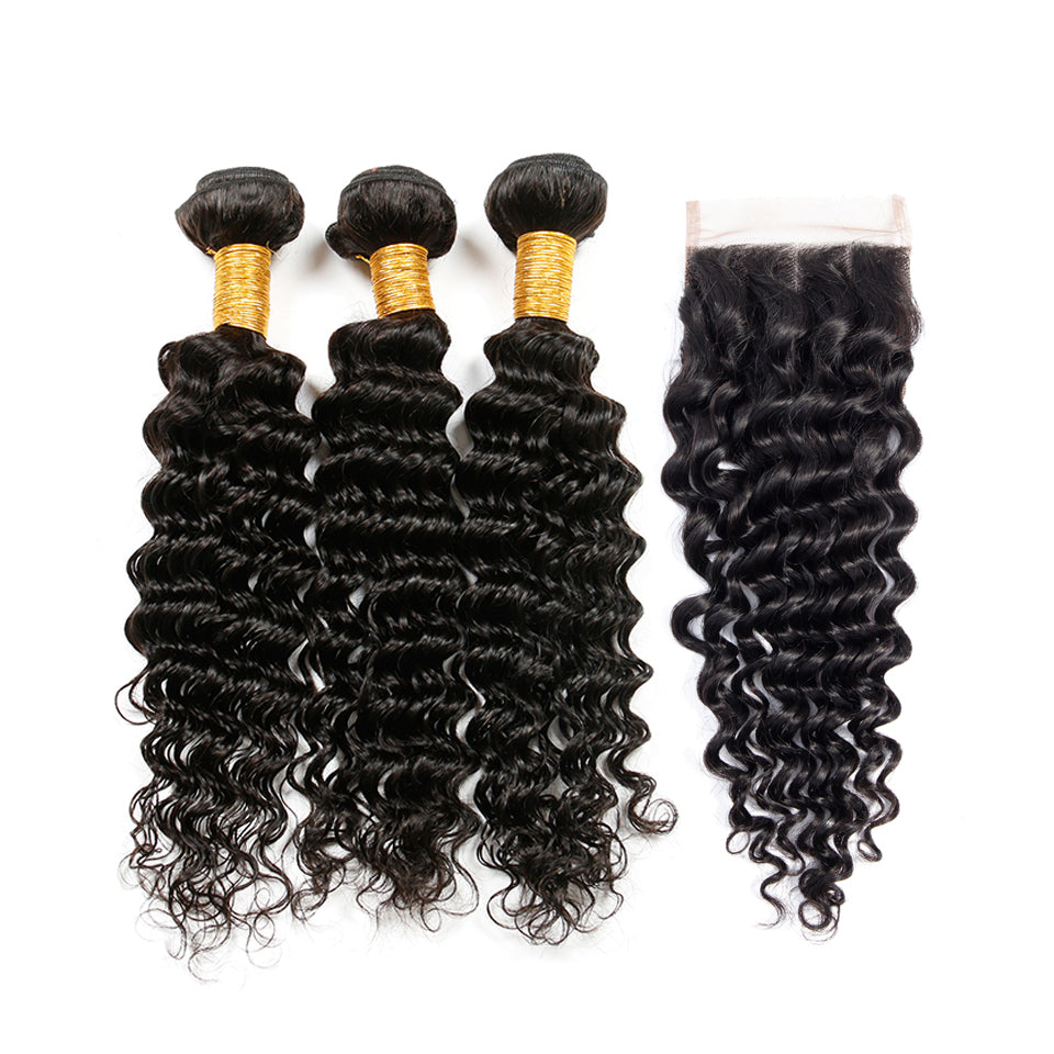 Peruvian Deep wave virgin hair 3 bundles with 4*4/5*5 lace closure, free part!