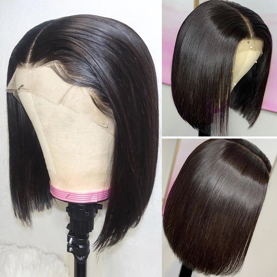 Short Bob Human Hair Lace Front Wig, 180% Density ,Pre plucked, Glueless Wig