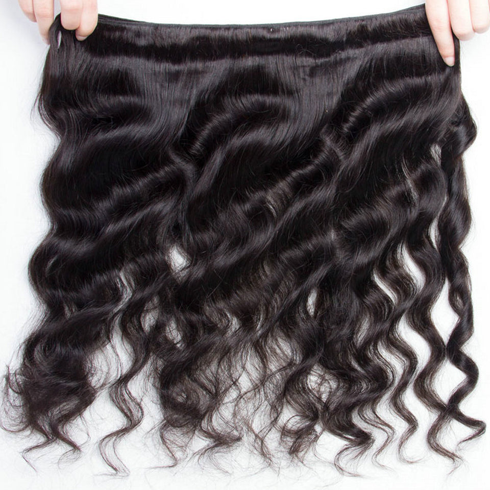 virgin malaysian loose wave  3 bundles with 13*4/13*6 Lace Frontal Closure