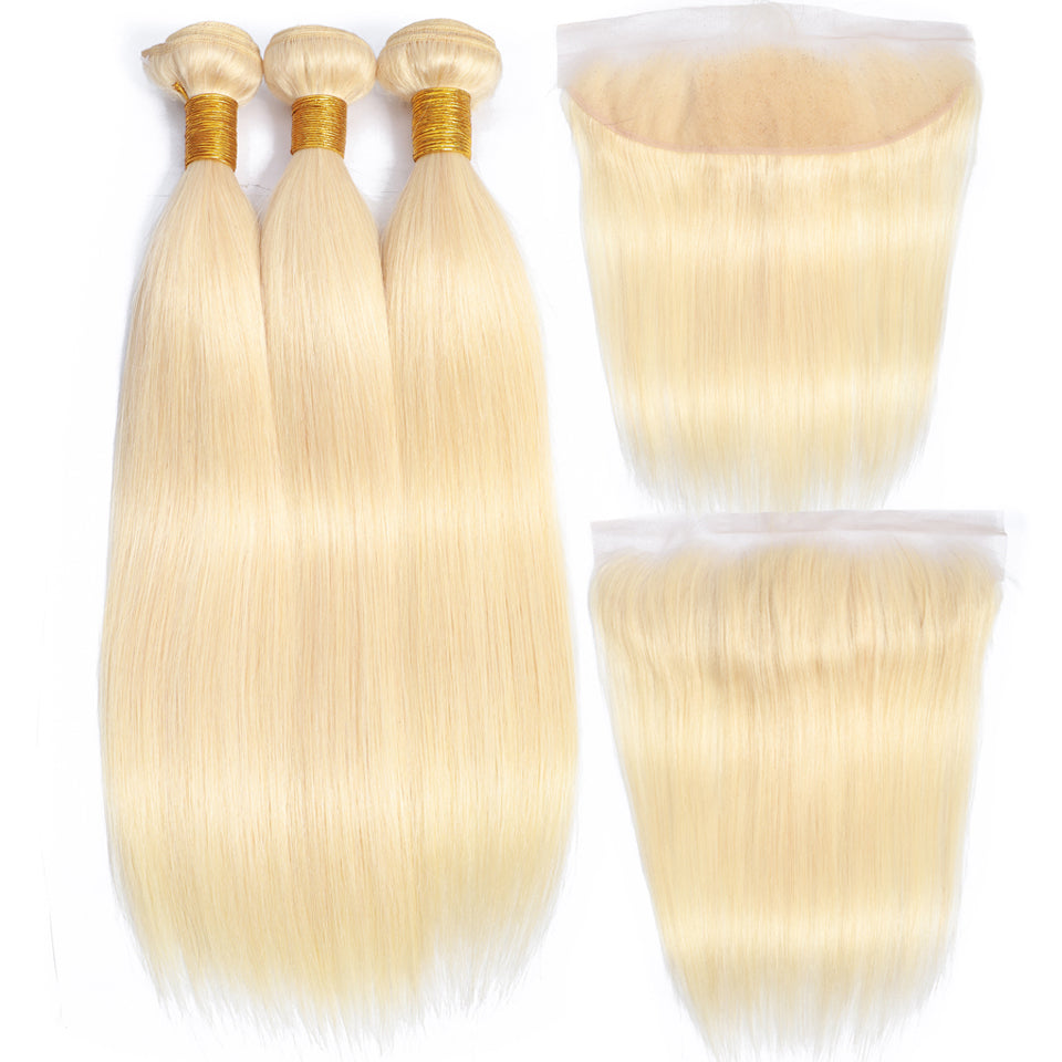 613 Blonde Malaysian 3 bundles with frontal closure, free part ear to ear lace closure