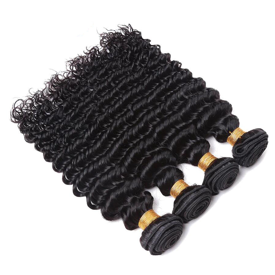4 bundles virgin indian deep wave  human hair weaves  8-30inch