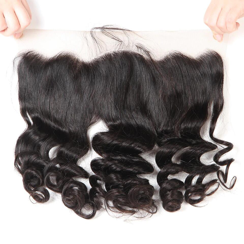 13*4 Loose Wave lace frontal human hair closure, ear to ear frontal closure