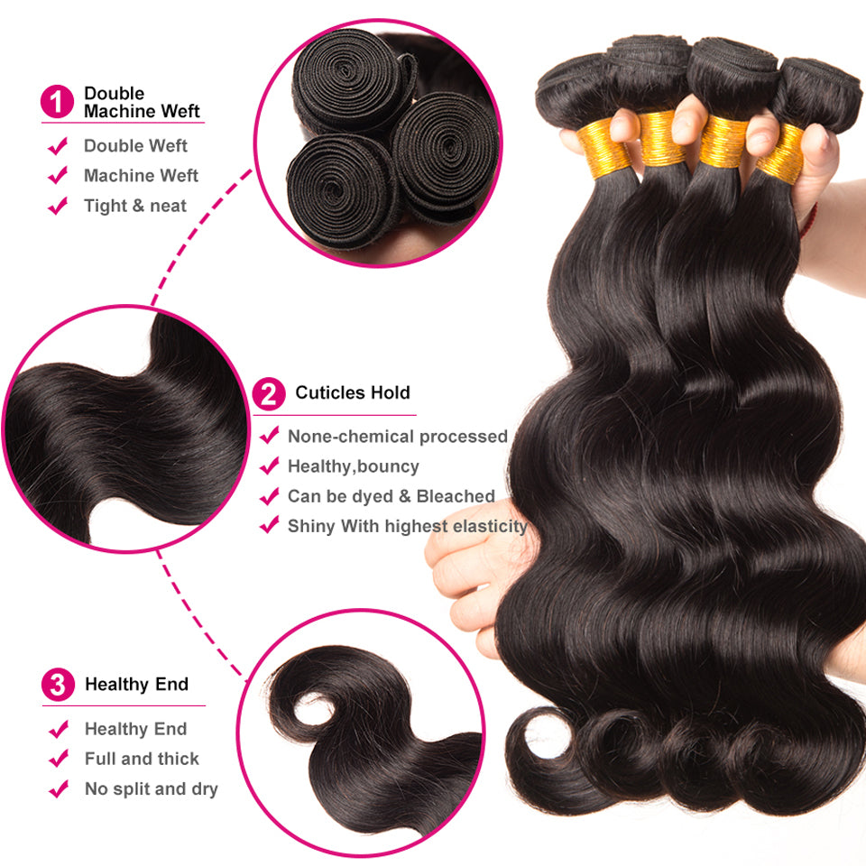 4pcs/lot virgin brazilian body wave, 8-30inch, 100% virgin human hair weaves