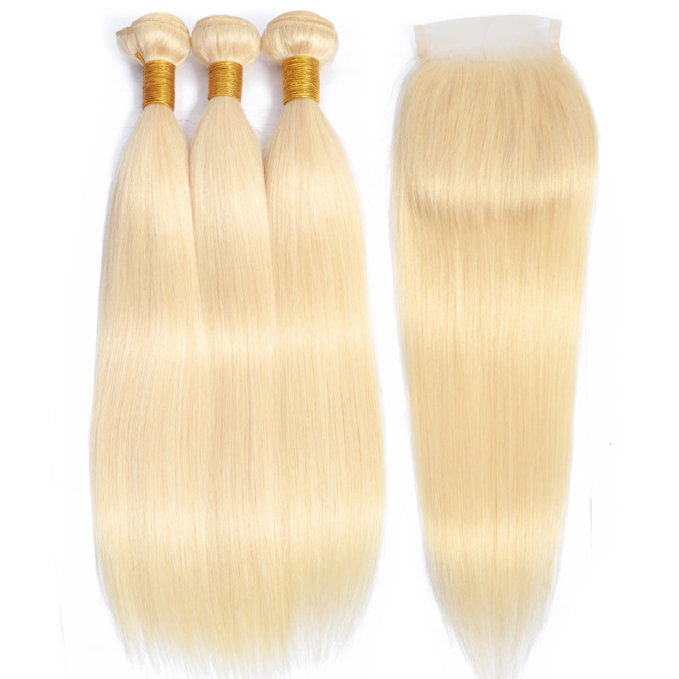3 Bundles indian  straight hair with 4*4/5*5 Lace Closure, 613 blonde color