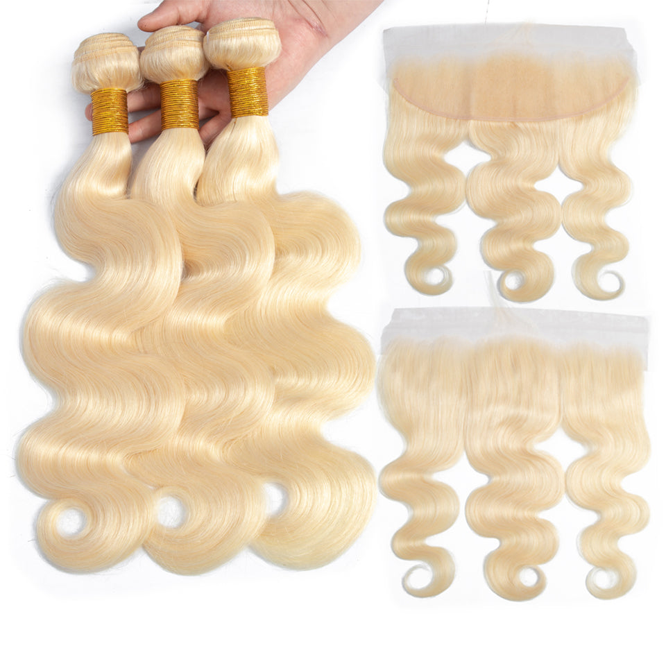 613 Blonde Malaysian Body Wave 3 bundles with frontal closure, 13*/13*6 ear to ear lace closure, free part