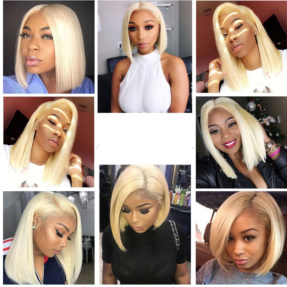 13*6 Blonde Hair Short Bob Wigs Human Hair Wigs, 613 Color short Lace Front Wigs