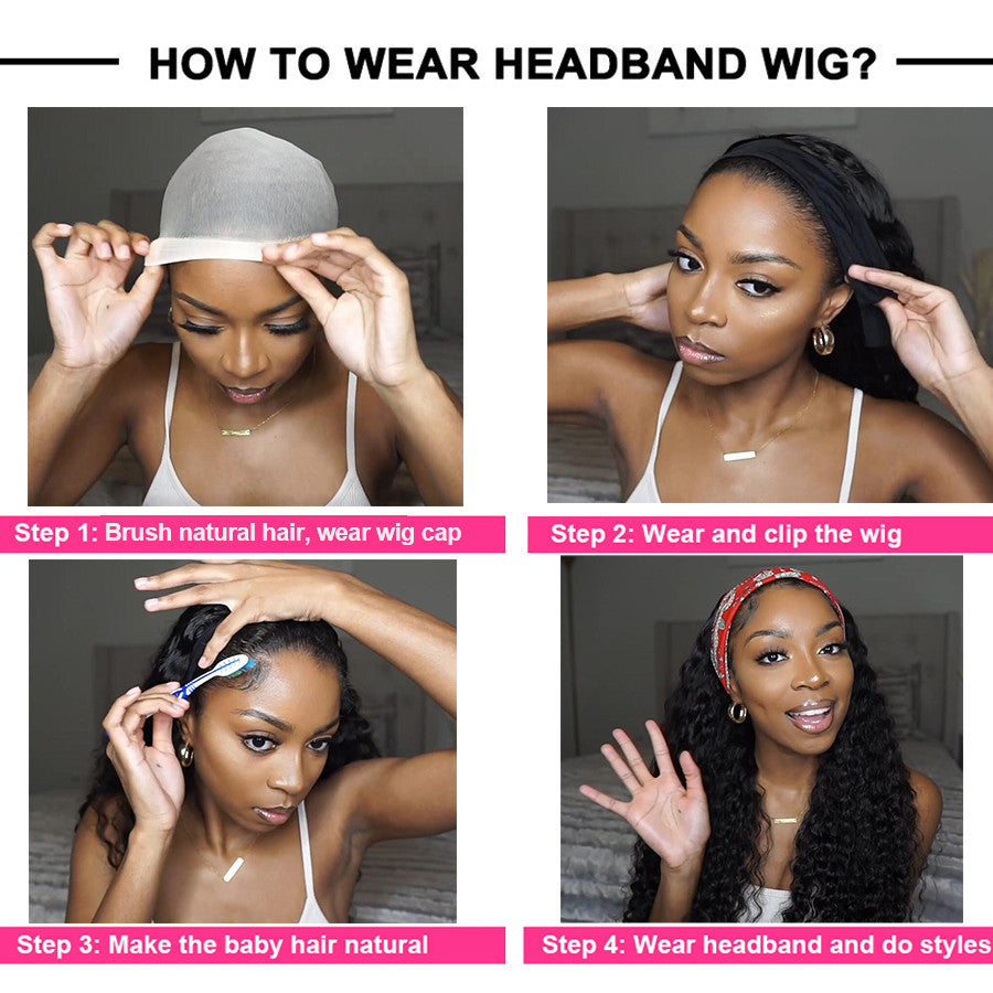 Headband Wig Virgin Human Hair Water Wave Hair Wigs Fashion Half Wig