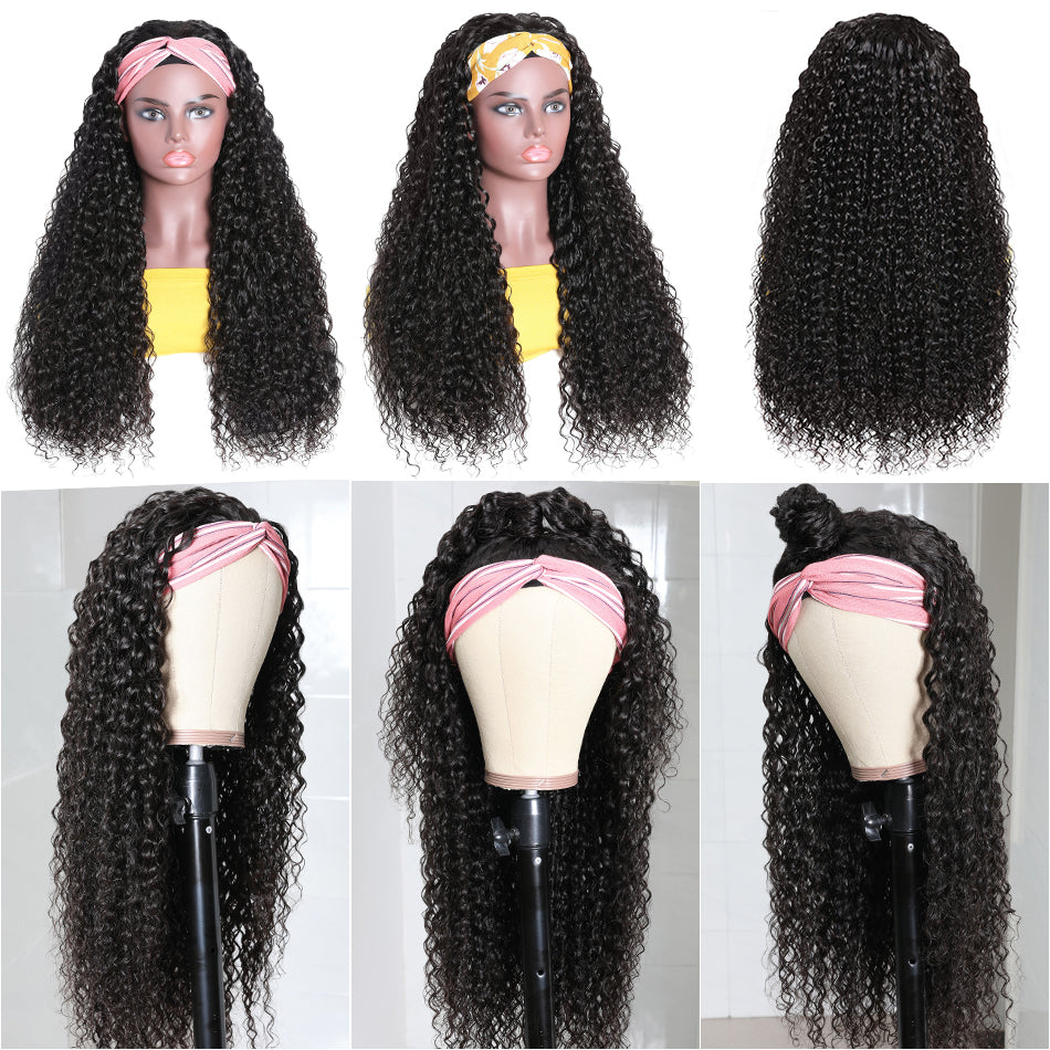 Headband Wig Virgin Human Hair Jerry Curly Hair Wigs Fashion Half Wig