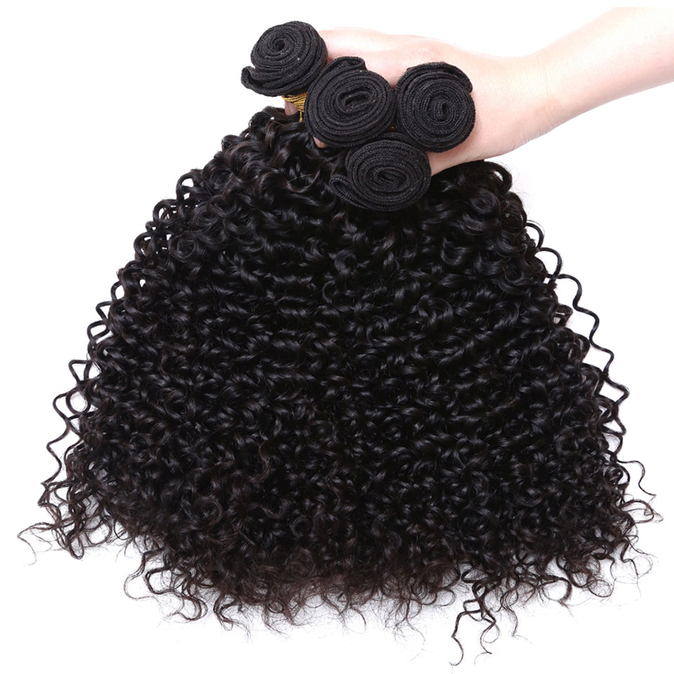 Brazilian Curly Hair 3 Bundles with 4*4/5*5 Free Part Lace Closure,