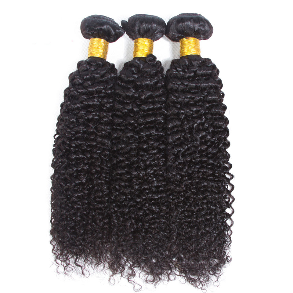 Virgin peruvian curly hair 3 bundles with 4*4 /5*5 lace closure, Free Part