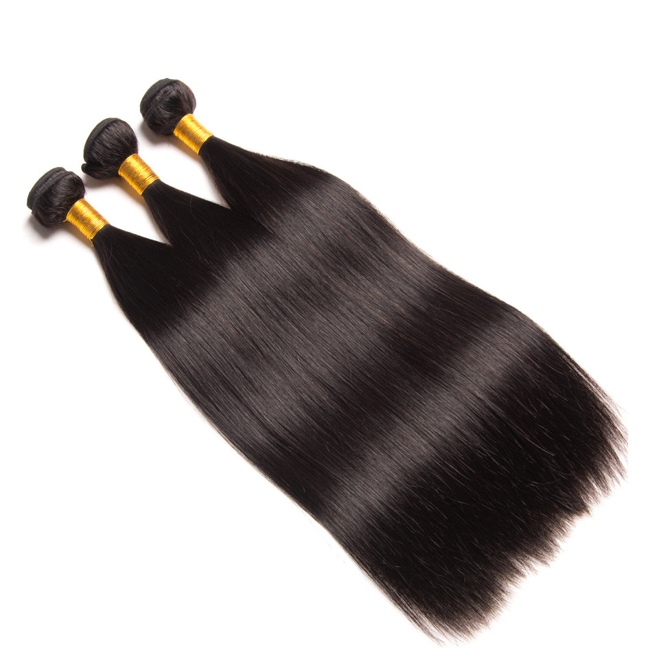 Virgin Malaysian Straight Hair 3 Bundles with 4*4/5*5 Lace Closure