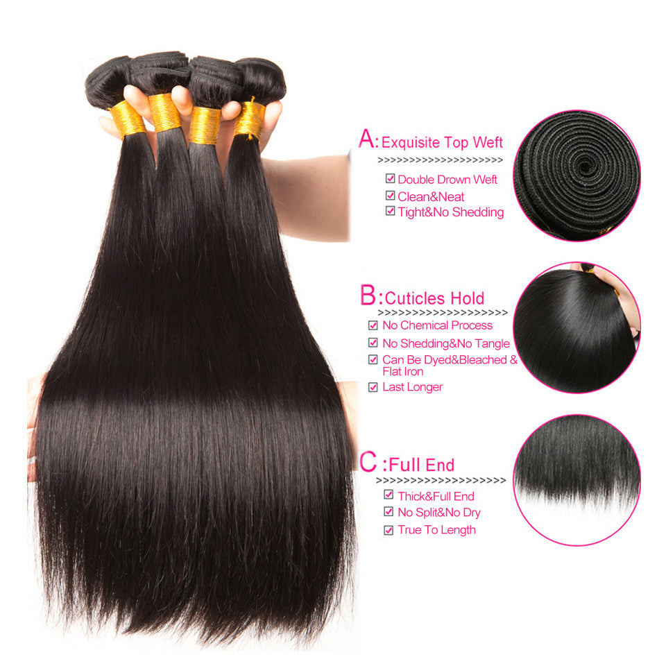 4 bundles peruvian virgin straight hair, 8-30inch, 100% virgin human hair weaves