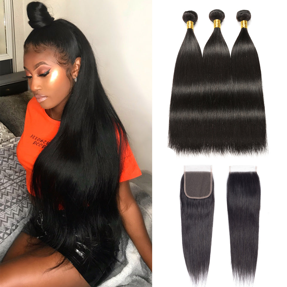 Virgin Brazilian Straight Hair 3 Bundles with 4*4/5*5 Lace Closure