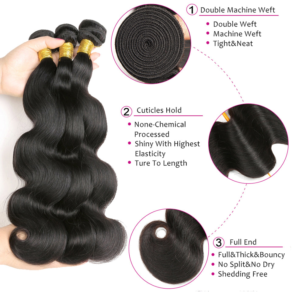 100% Virgin body wave Human Hair 1 Piece/Pack