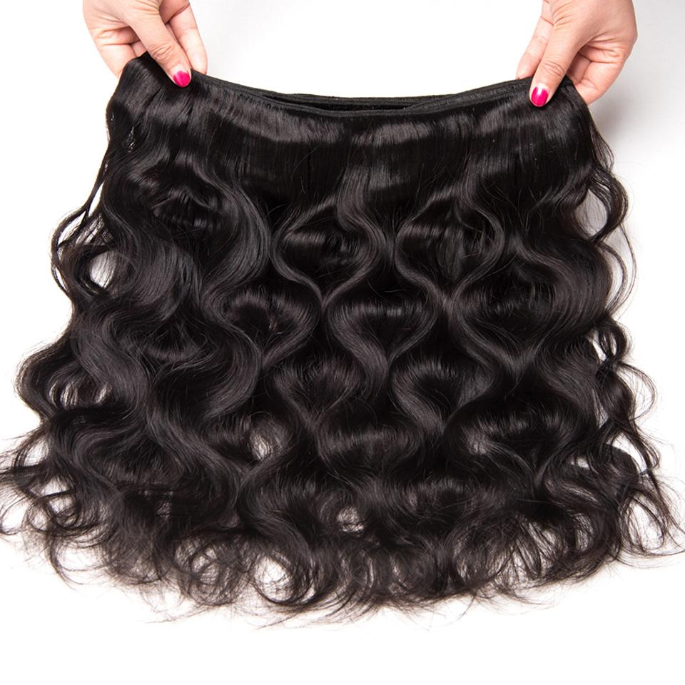 Virgin Brazilian Body Wave 3 Bundles with 360 Lace Frontal Closure