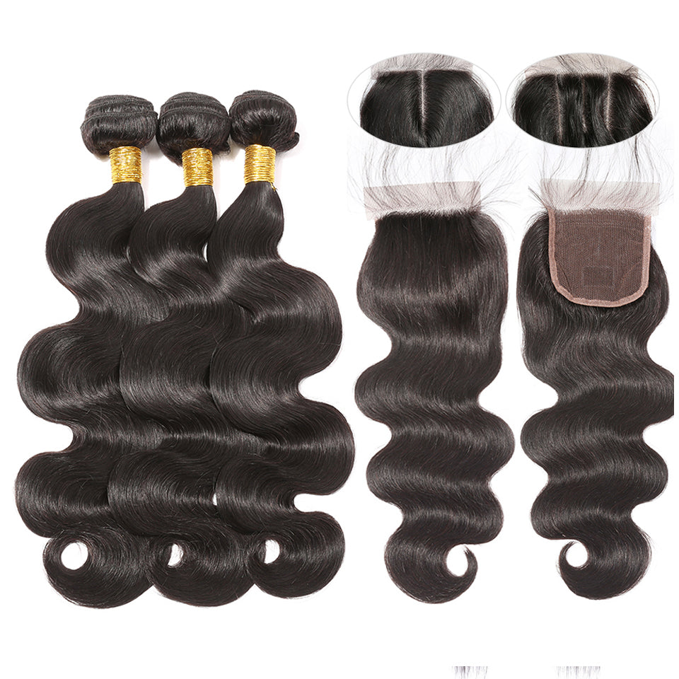 Virgin Peruvian Body Wave 3 Bundles with 4*4/5*5 Lace Closure, Free Part
