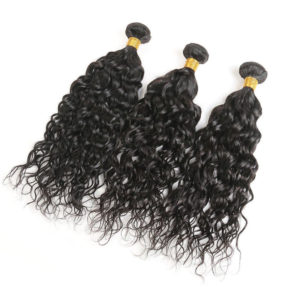 virgin malaysian water wave 3 Bundles with 4*4/5*5 lace closure