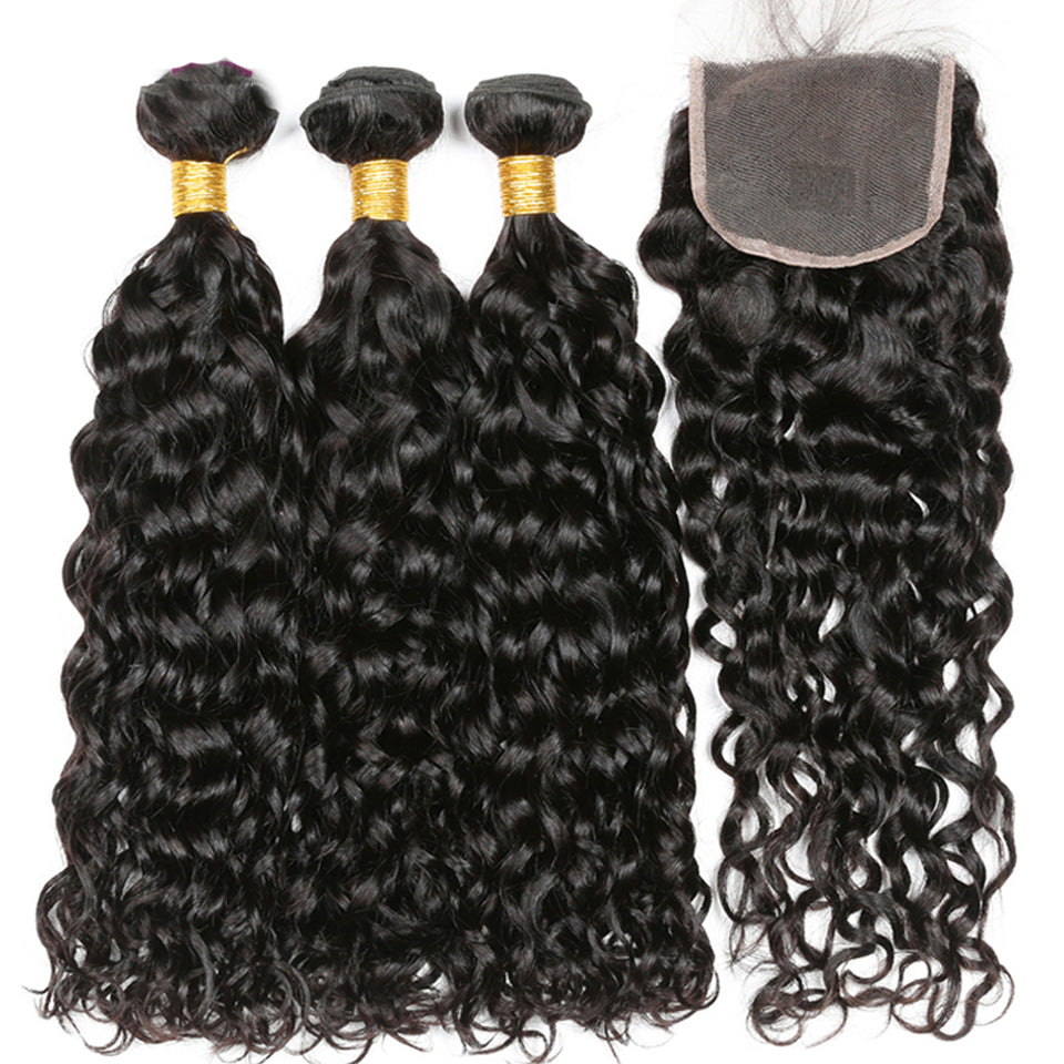 Water Wave Virgin Brazilian Hair 3 Bundles with 4*4/5*5 lace closure