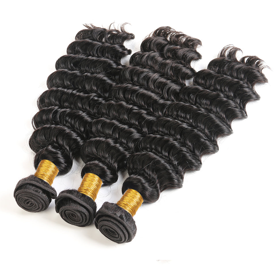 Indian Deep Wave 3 bundles with 13*4/13*6 Lace Frontal Closure