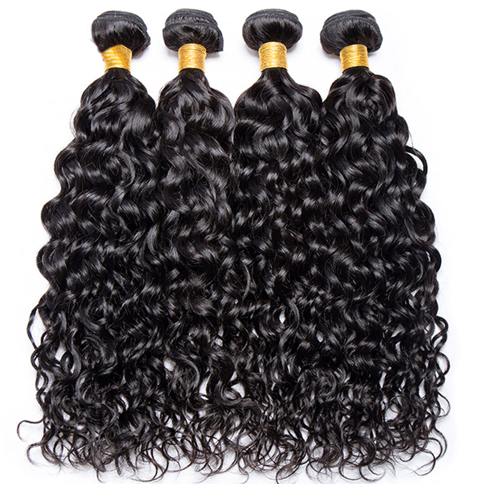 indian  water wave hair 3 bundles with 13*4/13*6 Lace Frontal Closure