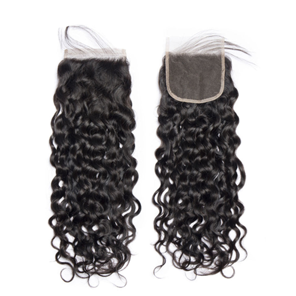 Indian water wave 3 Bundles with 4*4/5*5 lace closure