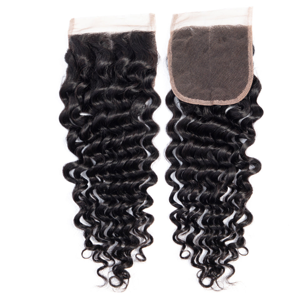 Indian Deep wave virgin hair 3 bundles with 4*4/5*5 lace closure, free part!