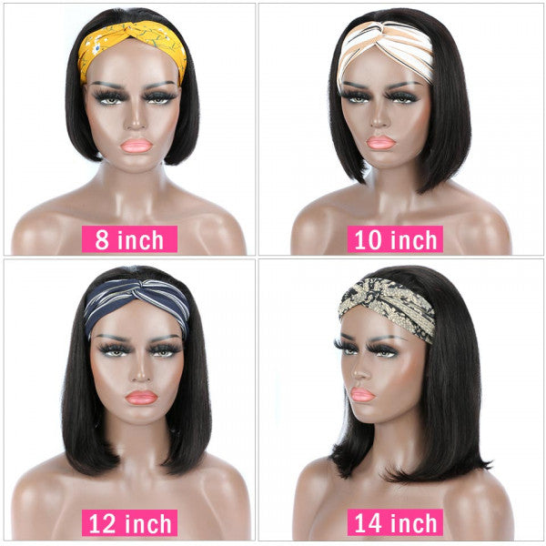 Headband Wigs Short Straight Bob Wig Half Wigs With Headband