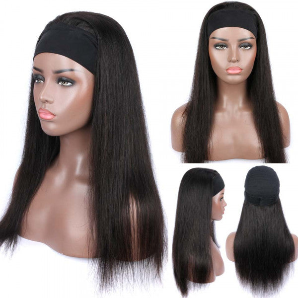 Headband Wig Virgin Human Hair Straight Hair Wigs Fashion Half Wig