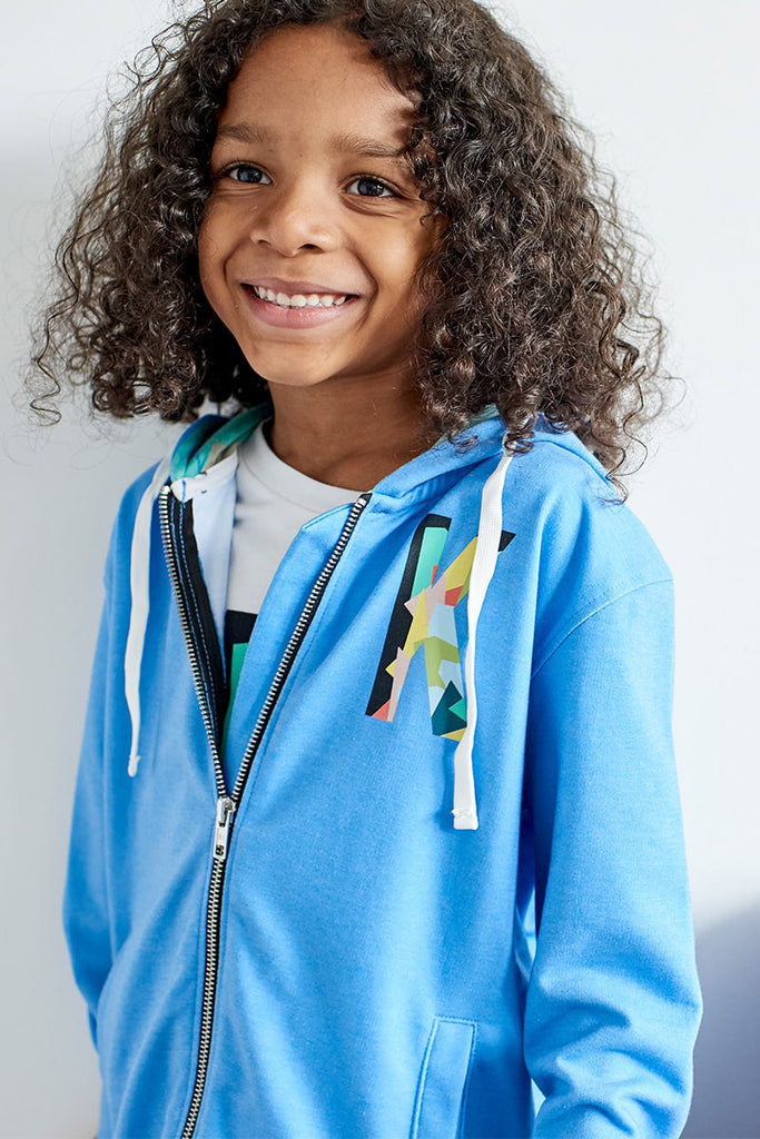 Boys 'K' Placement Print Zip Through Hoodie - Blue